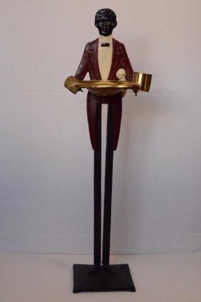 Black Americana Cast Iron & Brass Smoking Stand