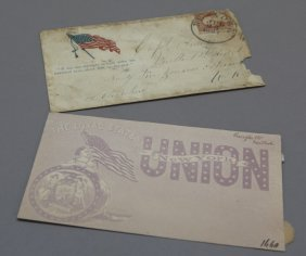 2 Civil War Patriotic Covers: 1 Used In 1861