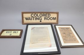 4 Broadsides Signs: White Only - Colored Voters