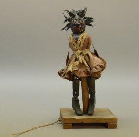 Black Folk Art 19c Articulated Carved Wood Jig Toy