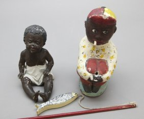 2 Black Dolls: Gebruder Heubach & Chalkware Jockey
