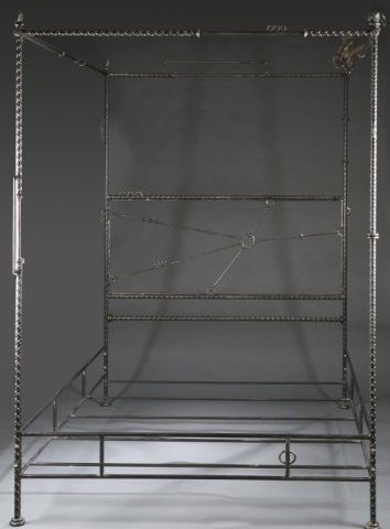 Ilana Goor iron and bronze bed frame with birds.