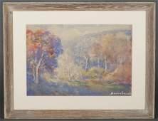 Attrib. Donna Schuster, Landscape, watercolor.