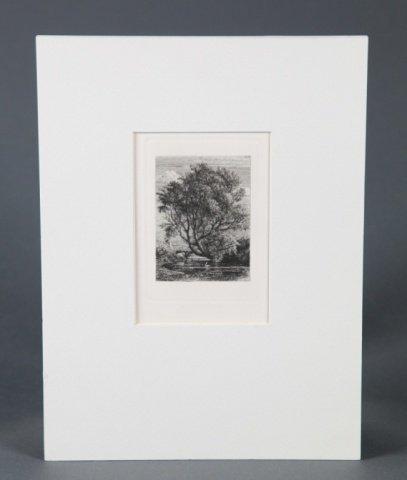 Etching by Samuel Palmer (Britian, 1805-1881).