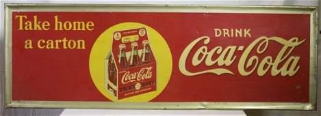 """Coca Cola tin sign, """"Take Home a Carton."""""""