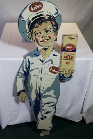 Arden Milk tin litho sign.