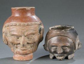 2 Pre-columbian Style Head Vessels.