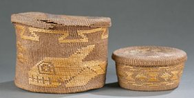 Group Of 2 Tlingit Baskets With Lids.