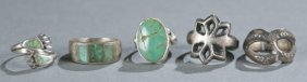 Group Of 5 Native American Rings.