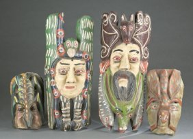 4 Mexican Polychrome Folk Art Masks.