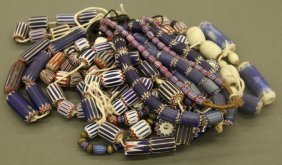 Large Group Of Chevron Glass Trade Beads.