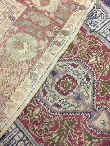 Silk and wool prayer rug, 19th century.