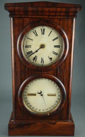 American double dial calendar clock.