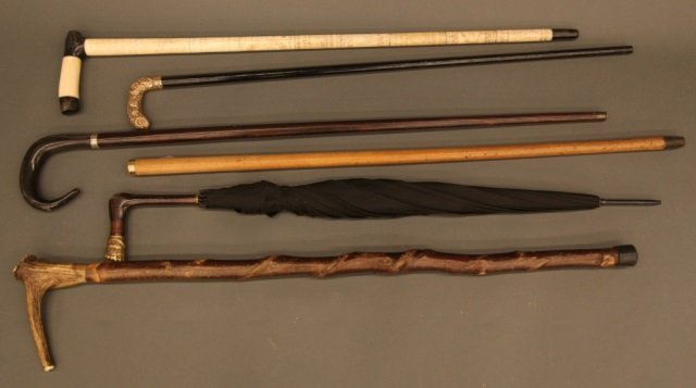 Group of 6 walking sticks, canes, and umbrellas.