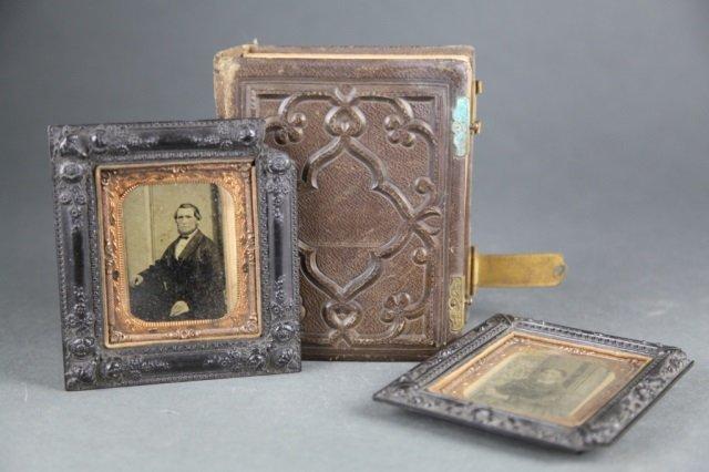 Leather Bound Photo Album & Two Tin Types.