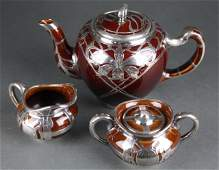 3 pc German porcelain tea set with silver overlay