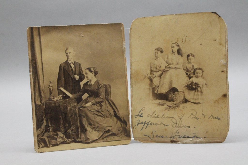 2 Albumens: Jefferson Davis & wife; Davis children