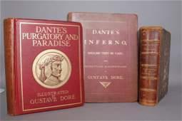 3 Dore books: Don Quixote, Dante.