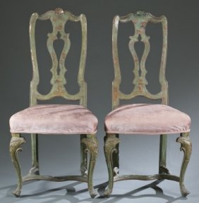 Pair Of Polychrome Vernis Martin Chairs, 19th C.