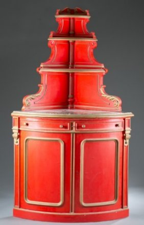 Italian Painted Corner Cupboard, 20th Century.