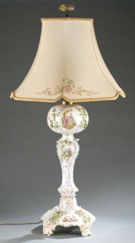 19th Century Dresden Rococo Revival Porcelain Lamp