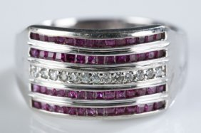 Ruby And Diamond 14k White Gold Ring.