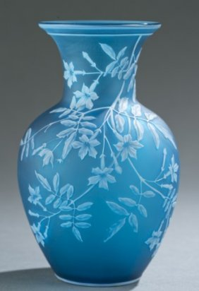 Thomas Webb & Sons Blue And White Cameo Glass Vase