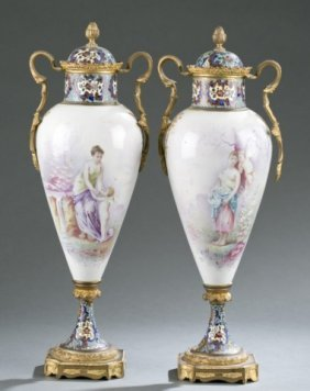 Pair Of Servres Style French Porcelain Urns.