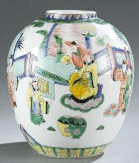Chinese Famille Verte Porcelain Jar.