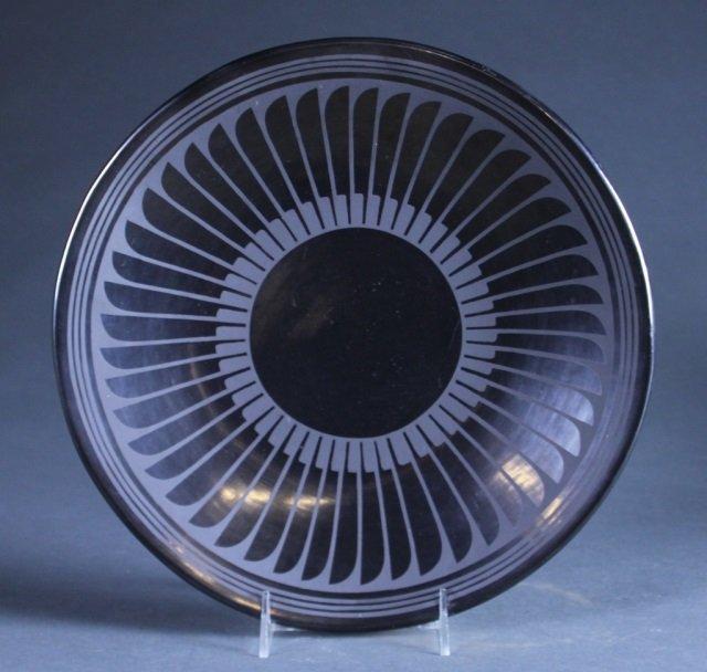 San Ildefonso Blackware, Feather plate. c.1956