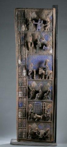 Yoruba Olowe style wooden door with stand.