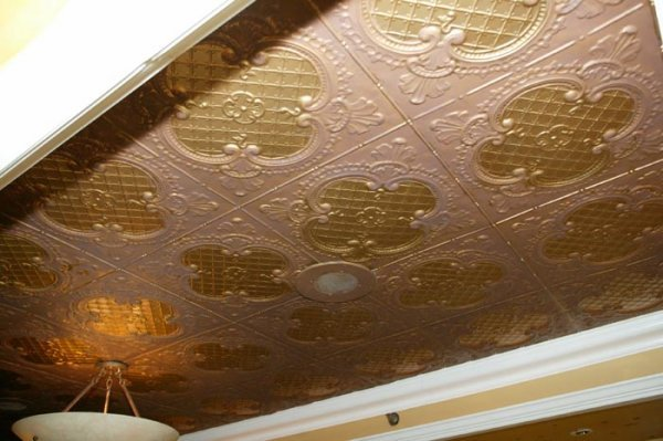 3505: Medium, section of stamped metal ceiling. This it