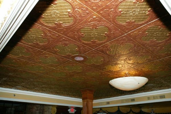 3506: Large section of stamped metal ceiling. This item