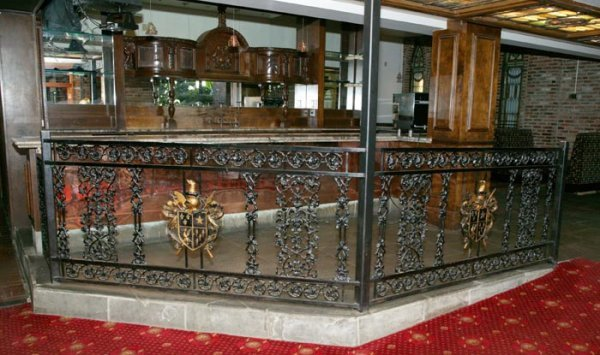 3516: Wrought iron railing by bar, having 2 90''l x 42'