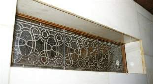 3541 Pair of Rectangular leaded glass panel with repea