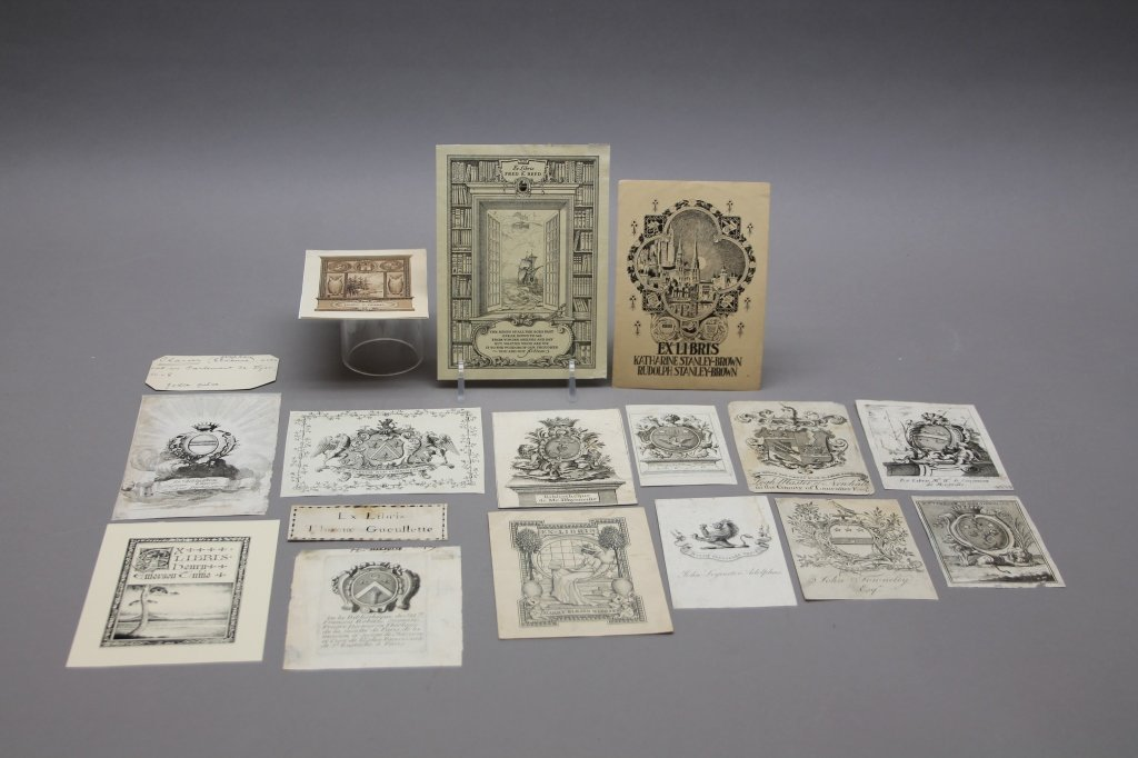 15 Engraved & Printed Bookplates: 17th-20th C