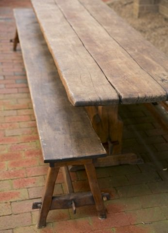 Handmade trestle table with pair of benches. - 2