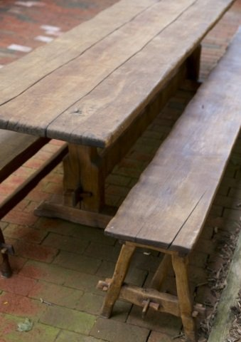 Handmade trestle table with pair of benches. - 3