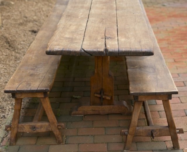 Handmade trestle table with pair of benches. - 4
