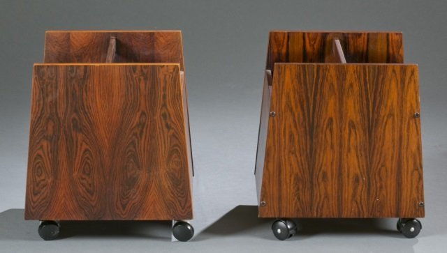 Pair of Mid-Century modern rosewood magazine racks