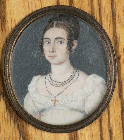 Group of 9 framed portrait miniatures. - 8