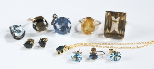 Group of assorted gemstone jewelry.