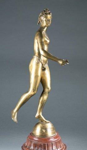 Gold patinated bronze of Artemis / Diana. - 3