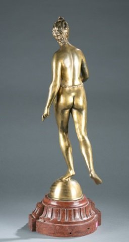 Gold patinated bronze of Artemis / Diana. - 4