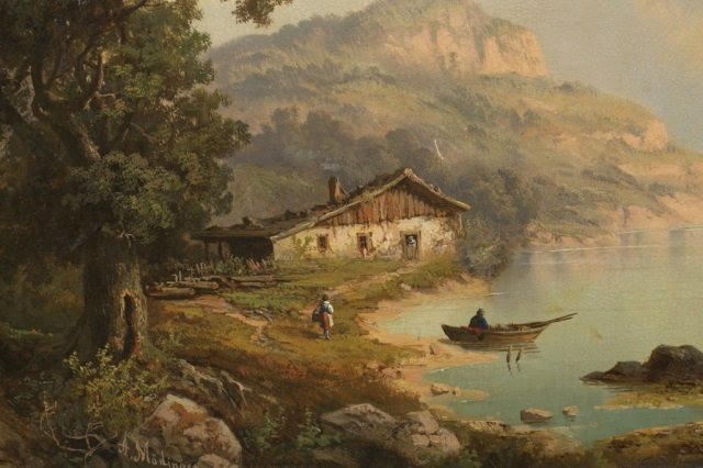 A. Modinger, European lakeside landscape, o/c. - 2