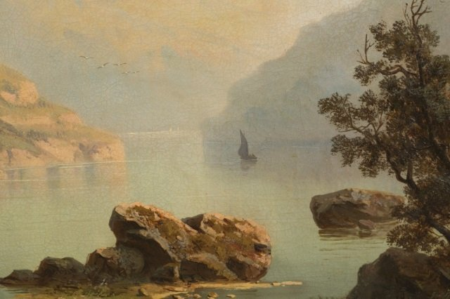 A. Modinger, European lakeside landscape, o/c. - 3