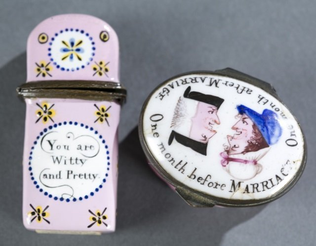 Humorous enamel box and a floral scent flask.