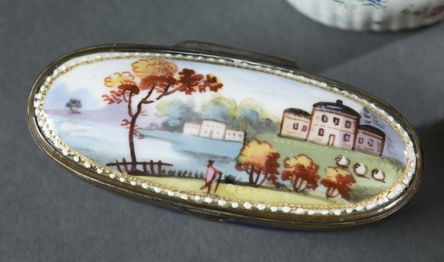 7 Bilston style patch / snuff boxes, 18th /19thc. - 3