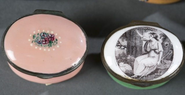 7 Bilston style patch / snuff boxes, 18th /19thc. - 5