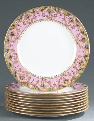 10 Pink, gold, and enamel Copeland jeweled plates.